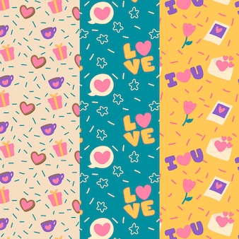 Colorida colección de patrones de san valentín