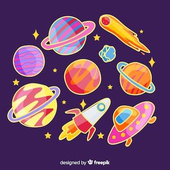 Colorida colección de pegatinas espaciales dibujadas a mano