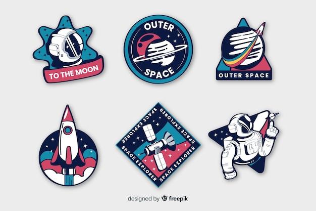 Colorida colección de pegatinas espaciales