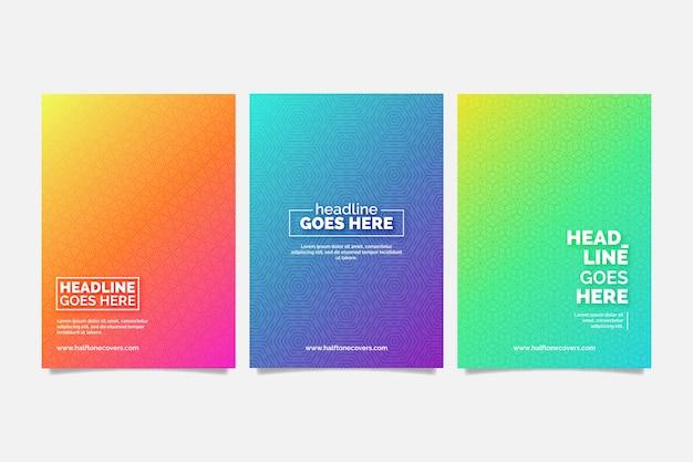 Colorida colección de portadas de degradado de semitono