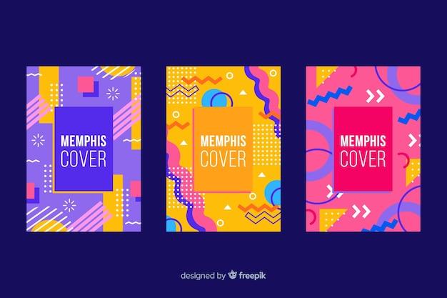 Colorida colección de portadas de memphis