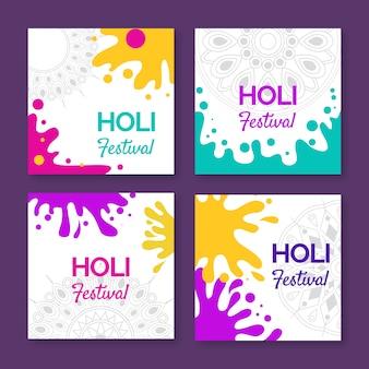 Colorida colección de publicaciones de instagram para holi