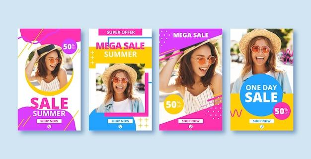 Colorida colección de publicaciones de instagram de ventas