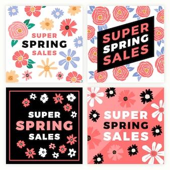 Colorida colección de publicaciones de venta de primavera de instagram