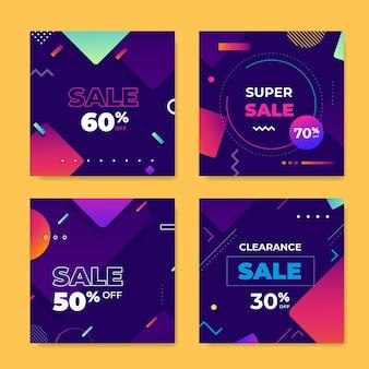 Colorida colección de publicaciones de ventas de instagram