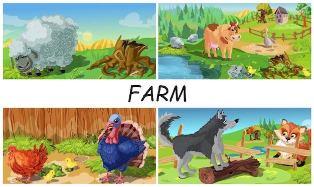 Colorida composición de animales de granja con oveja, vaca, ganso, pollo, pavo y perro que defiende la granja del zorro en paisajes de campo en estilo de dibujos animados