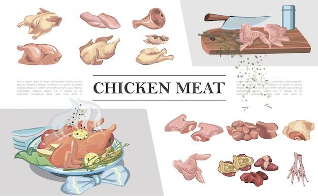 Colorida composición de carne de pollo con patas pechuga de jamón alas filete muslo corazón hígado cuchillo sobre tabla para cortar pollo asado