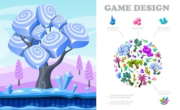 Colorida composición del paisaje del juego con la escena de la naturaleza de fantasía árboles palmeras cactus arbustos plantas cristales minerales piedras