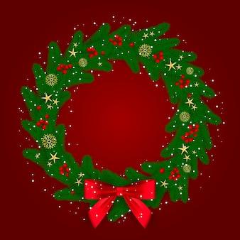 Colorida corona preparada para navidad