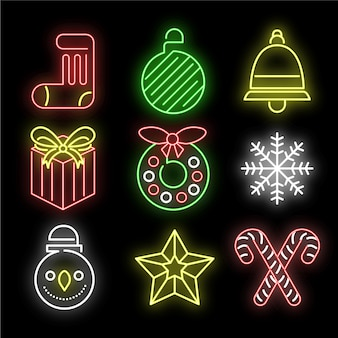 Colorida decoración navideña en luces de neón