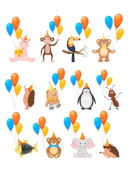Colorida fiesta con lindos animales y globos sobre un fondo blanco.
