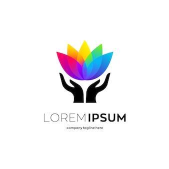 Colorida flor de loto, plantilla de logotipo de salud