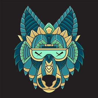 Colorida ilustración de cabeza de lobo