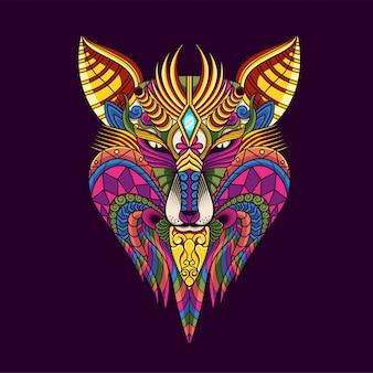 Colorida ilustración de lobo, mandala zentangle y diseño de camiseta