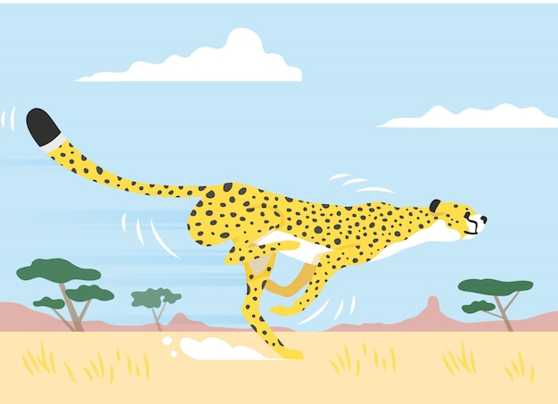 Colorida ilustración vectorial de un guepardo amarillo corriendo rápido