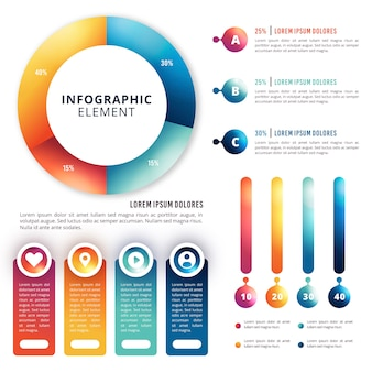 Colorida infografía brillante 3d