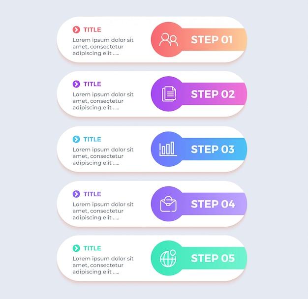 Colorida infografía empresarial con 5 pasos de opciones