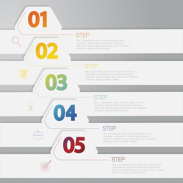 Colorida infografía horizontal, ilustración con opciones, cuadro de texto