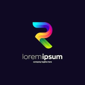 Colorida letra r, plantilla de logotipo premium