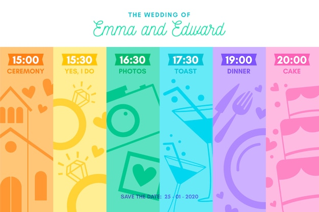Colorida línea de tiempo de boda en estilo lineal
