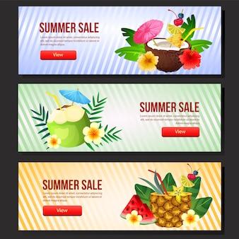 Colorida plantilla de banner de venta de verano web conjunto cóctel bebida vector ilustración
