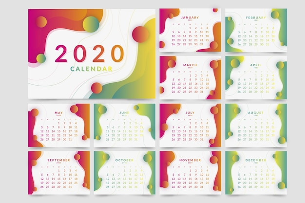 Colorida plantilla de calendario 2020