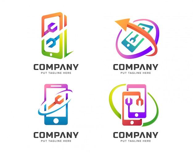 Colorida plantilla de logotipo de teléfono móvil de reparación