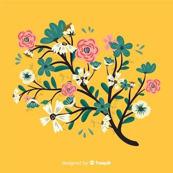 Colorida rama floral en diseño plano