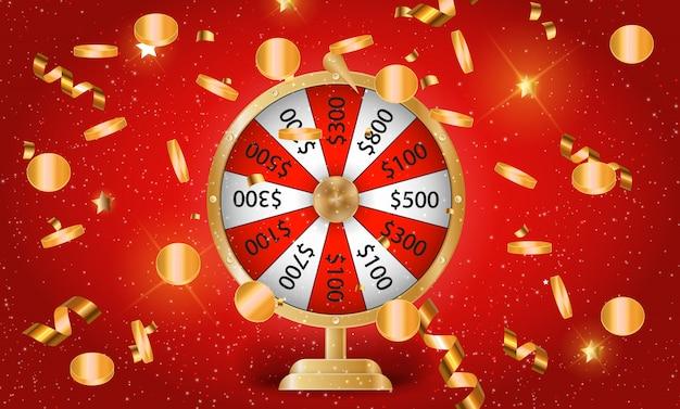 Colorida rueda de la fortuna. posibilidad de victoria.