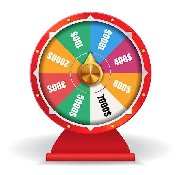 Colorida rueda de la suerte con dinero. spinning fortune wheel, las vegas, premio.