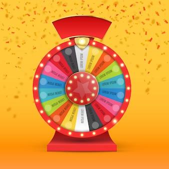 Colorida rueda de la suerte o fortuna infografía. casino online.