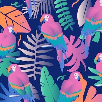 Colorida selva tropical deja fondo con loros.