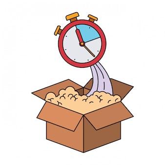 Colorida silueta de caja de cartón y cronómetro.