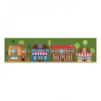 Colorida silueta de paisaje con fachada tienda con toldo y casas de campo.
