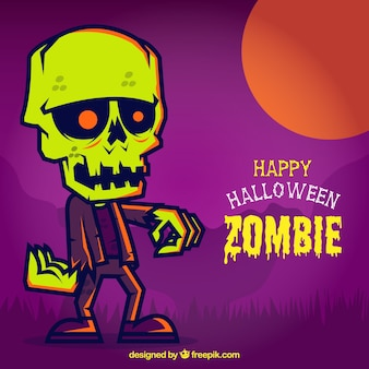 Colorida tarjeta de halloween con un zombi