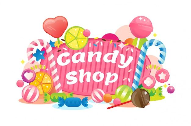 Colorida tienda de dulces festivo