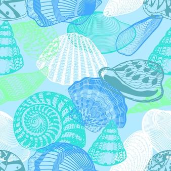 Colorida vida submarina del océano de patrones sin fisuras