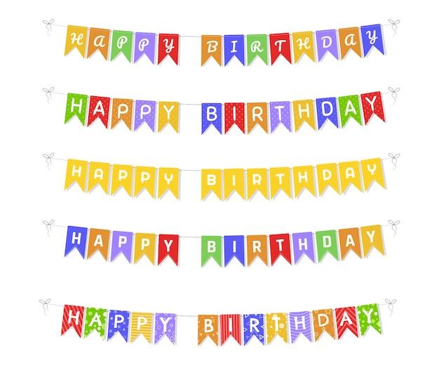 Coloridas banderas del empavesado y guirnaldas. decoración de fiesta de cumpleaños