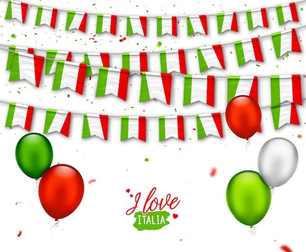 Coloridas banderas de italia con confeti, globos. guirnaldas festivas para la fiesta de celebración nacional, día de la independencia