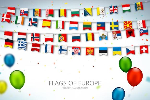 Coloridas banderas de países de europa