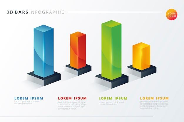 Coloridas barras 3d infografía