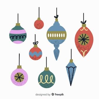 Coloridas bolas de navidad dibujadas a mano