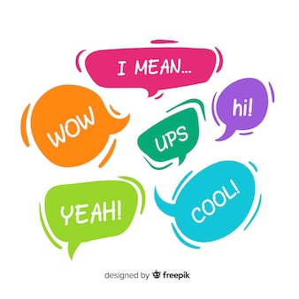 Coloridas burbujas de discurso con diferentes expresiones