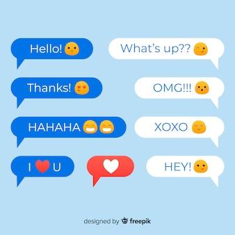 Coloridas burbujas de discurso de diseño plano con emojis