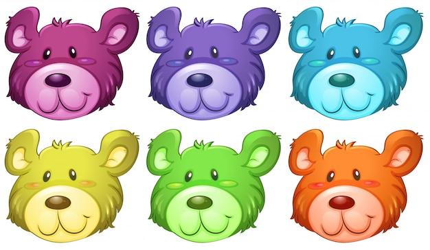 Coloridas cabezas de osos lindos