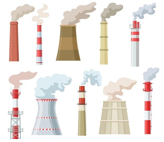 Coloridas chimeneas industriales con conjunto plano de humo.