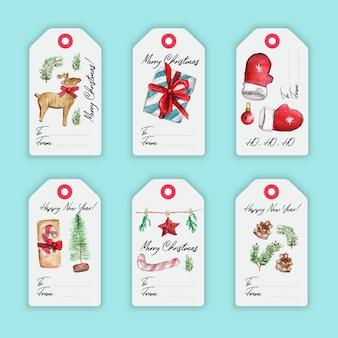 Coloridas etiquetas de acuarela feliz navidad con elementos de navidad y letras dibujadas a mano.