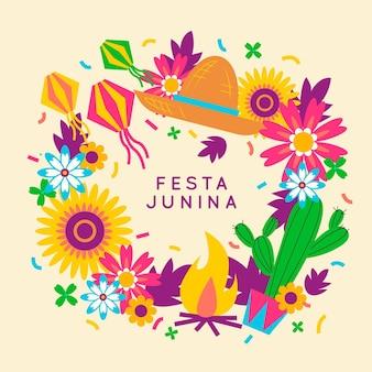 Coloridas flores y cactus diseño plano festa junina