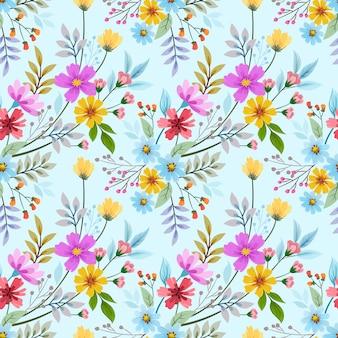 Coloridas flores dibujadas a mano sin fisuras patrón de diseño vectorial. se puede usar para papel tapiz textil de tela.