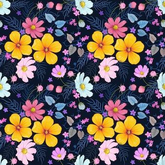 Coloridas flores dibujadas a mano sin fisuras patrón de diseño vectorial.